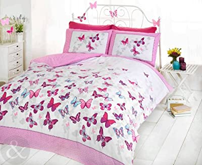 Butterfly Duvet Cover Set Choice of Colour All Sizes For Girls