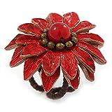 Avayala – Verstellbarer, roter Gänseblümchen-Ring aus Leder, mit einer Glasperle, 40 mm groß