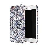 Light Blue Moroccan Ornaments Mosaic On White Marble Dünne Rückschale aus Hartplastik für iPhone 6 Plus & iPhone 6s Plus Handy Hülle Schutzhülle Slim Fit Case Cover
