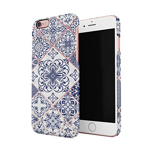 Light Blue Moroccan Ornaments Mosaic On White Marble Dünne Rückschale aus Hartplastik für iPhone 6 Plus & iPhone 6s Plus Handy Hülle Schutzhülle Slim Fit Case Cover