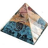 Pirámide de Orgonita con cristales turquesa y nucleo de amatista. Generador de energía orgón, equilibra la energía ambiental y protege contra campos electromagneticos - 70mm