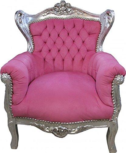 Barock Sessel Rosa Silber- Barock Möbel Casa Padrino
