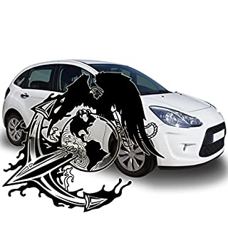 Car Sticker Eagle Eagle on Globe – Earth Anchor With Rope, Vinyl, Lime Green, 115,00 cm x 100,00 cm (MITTEL)