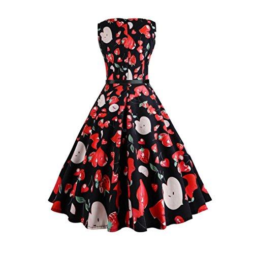 1950s Abiti da Donna, 50s Vestito da Swing dell'Abito di Sera di Promenade del Cotone del Cotone di Stile di Hepburn di Stile Classico,