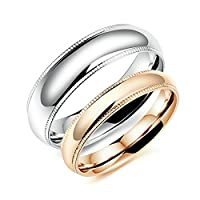 Stainless Steel Silver Rose Gold Couple Promise Rings Set for His and Hers 6MM/4MM Size N 1/2 & Men Size P 1/2