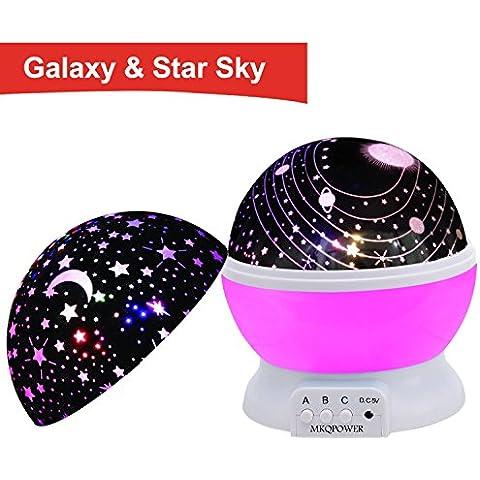 MKQPOWER lampada proiettore, luce notturna 4LED 364° gradi atmosfera notte stellata/Cosmos atmosfera romantica Pink with 2 lids