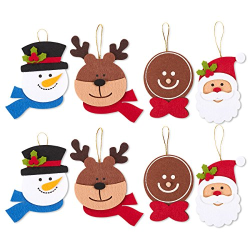 Juvale 8Stück Filz Ornament Set-Inklusive Rentier, Santa Claus, Lebkuchenmann, Schneemann Köpfe-Cute Christmas Ornaments-Zum Aufhängen an Weihnachtsbaum -