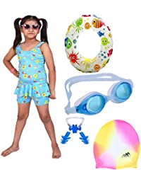 6e79f5b1cd THE MORNING PLAY Girls Swimming Kit with Swimming Costume Swimming Goggles  Swim Ring Swimming Cap Ear
