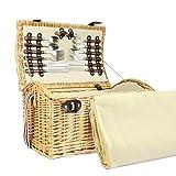 4 Persona Hadleigh Wicker cesta de cesto de picnic con accesorios y manta de lana de crema - Ideas de regalos para cumpleaños, bodas, aniversarios y corporativos