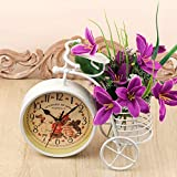 A Vintage Affair White Vintage Bicycle Clock Bike Shape Clock Child Kids Bicycle Clock with Pen Holder for Home Decoration.