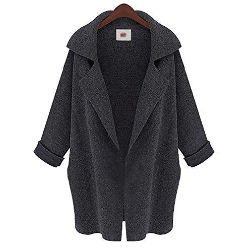 (JUTOO Frauen Langarm Übergroße lose Strickjacke Strickjacke Tailored Collar Coat(Dunkelgrau,Einheitsgröße))