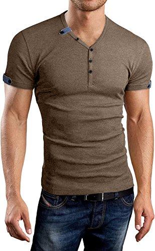 AIYINO Herren Casual T-Shirt mit V-Ausschnitt Kontrast 100% Baumwolle Cardigan (Large, Braun)