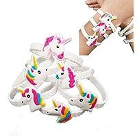 AJOYCN Unicornio Pulseras Muñequera, Unicornio Cumpleaños Fiesta Favores Suministros para Niñas Niñas, Premios de Unicornio Regalos, Pulsera de Goma (24 Pack)