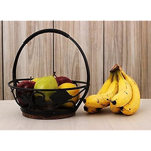 Store Indya, Elegantemente Hand Crafted frutta / pane Holder Cestello con manico - legno e ferro silos di immagazzinamento