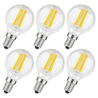 Albrillo E14 LED Bulbs Vintage Golf Ball Bulb 4W, 40 Watt Equivalent, Warm White 2700K, Small Edison Screw Antique Clear Filament Light Bulbs, 6 Pack