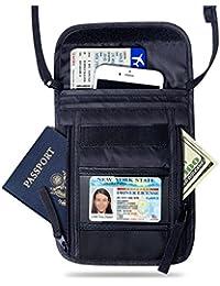 FREETOO Portadocumentos de Cuello Bolsa de viaje con Bloqueo de RFID para Pasaportes Billetes Movil Llaves Mapas Tarjetas Efectivo- Organizador con 7 Bolsillos