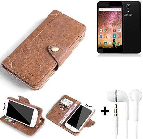 K-S-Trade® Schutzhülle für Archos 50 Power Hülle Tasche Handyhülle Handytasche Wallet Flipcase Cover Handy Tasche Kunsteleder Braun Inkl. in Ear Headphones