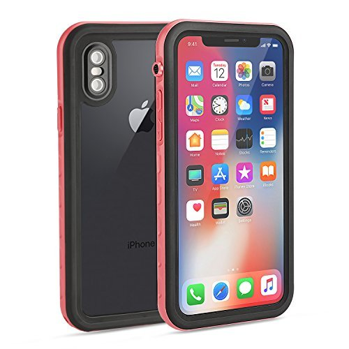 iPhone X Waterproof Case, Fansteck IP68 Waterproof/ Snowproof/Shockproof/Dirtproof, Fully Sealed Underwater Protective Cover with Built-in Screen Protector for iPhone 10/iPhone X(5.8-inch)(Black/Pink)