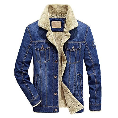 Herren Denim Coat Herbst Winter Pocket Button Flick Revers Top Warm Dicke LuxuriöS Cotton Bomber Taktische Jacke MäNtel MilitäR Parka Plus SAMT GefüTtert Draussenn Jeansjacke(Blau,M)