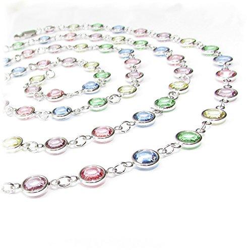 Pewterhooter 103cm lange Halskette aus pastellfarbenem Channel Crystal von SWAROVSKI®.
