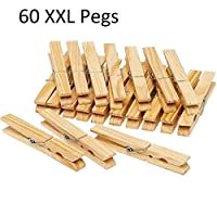 60 Large Wooden Clothes Pegs For Washing Line Crafts