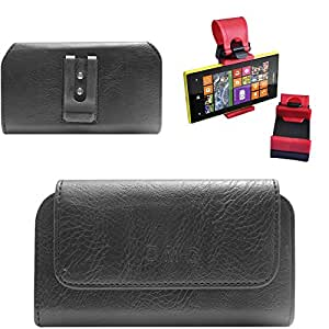 DMG Premium PU Leather Cell Phone Pouch Carrying Case with Belt Clip Holster for InFocus M330 (Black) + Car Steering Holder