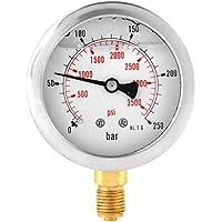 Akozon Manómetro 0-250Bar 0-3750PSI G1/4 Medidor de Presión de Agua Hidráulica de 63m