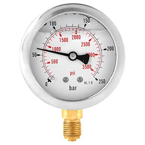 Manometer 0-250Bar 0-3750PSI G1/4 63mm Zifferblatt Hydraulische Wasserdruckanzeige Meter