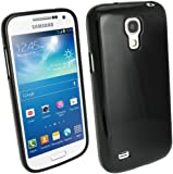 iGadgitz Black Glossy Durable Crystal Gel Skin (TPU) Case Cover for Samsung Galaxy S4 IV Mini I9190 I9195 Android Smartphone Mobile Phone + Screen Protector