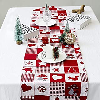 Awtang 35x170cm Christmas Decorative Cotton Linen Table Runner Thanksgiving Day Table Runner Cloth