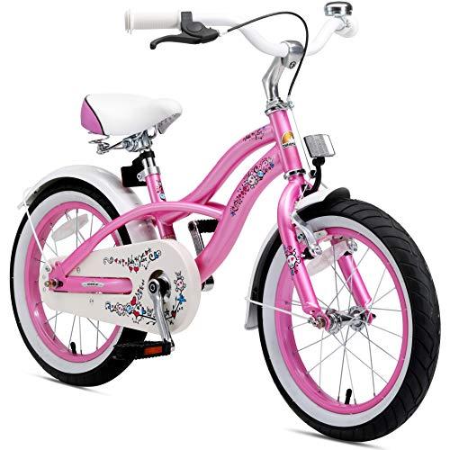 BIKESTAR Premium Sicherheits Kinderfahrrad 16 Zoll für Mädchen ab 4-5 Jahre | 16er Kinderrad Cruiser | Fahrrad für Kinder Rosa -