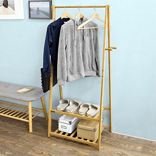 SoBuy® Ständer, Kleiderständer, Kleiderstange, Garderobenständer,Hängeregal aus Bambus, mit zwei Ablagen, FRG94-N