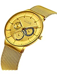 Whatches Men,Gents Stainless Steel Business Luxury Dress WristWatch Waterproof Analog Big Face Dial Sport Watches Casual Milanese Mesh Watch Band Golden Black for Men
