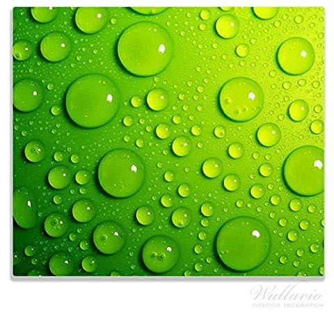 Wallario Herdabdeckplatte / Spitzschutz aus Glas, 1-teilig, 60x52cm, für Ceran- und Induktionsherde, Wassertropfen auf Grün