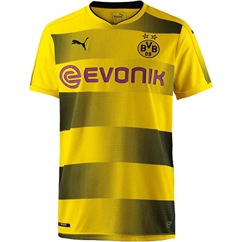 PUMA Erwachsene BVB Home Replica with Sponsor Logo Shirt, Cyber Yellow Black, M