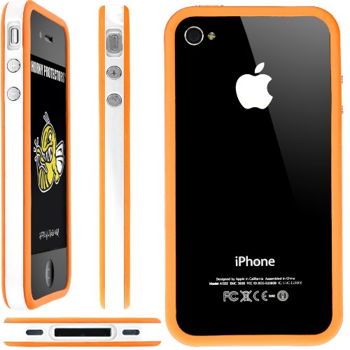 Horny Protectors Bumper für Apple iPhone 4/4S transparent/grün mit Metallbutton weiß/orange