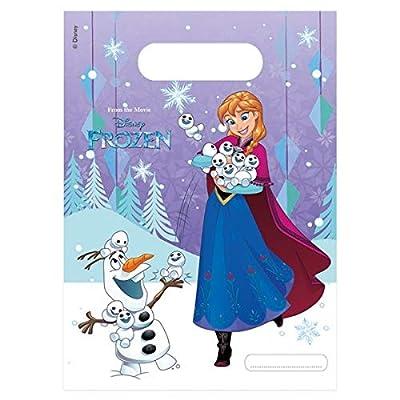 ALMACENESADAN 2367; Pack 6 Bolsas Disney Frozen; Ideal para Fiestas y cumpleaños; Bolsas para gominolas o Regalos; Producto de plástico; Dimensiones 23x16,5 cm de stor