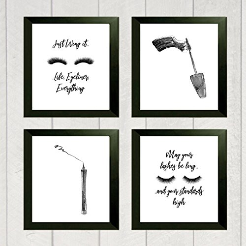 Silly Gans Geschenke Just Wing It Life Eyeliner Alles Mascara Eyeliner Make up Raum Set Wall Art Prints (Vier) 20,3x 25,4cm Wimper (Eyeliner-geschenk-set)