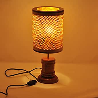 kraftinn Aloha Bamboo Wood Table Lamp (16x6.5 inches, Natural Brown)
