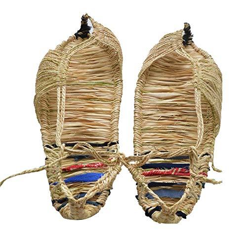 Infradito Sandali Sportivi da Esterno Sandali da Uomo Estate Fatti a Mano Scarpe di Paglia Sandali Traspiranti antisudore Casual Bamboo Ma Min Color, 39