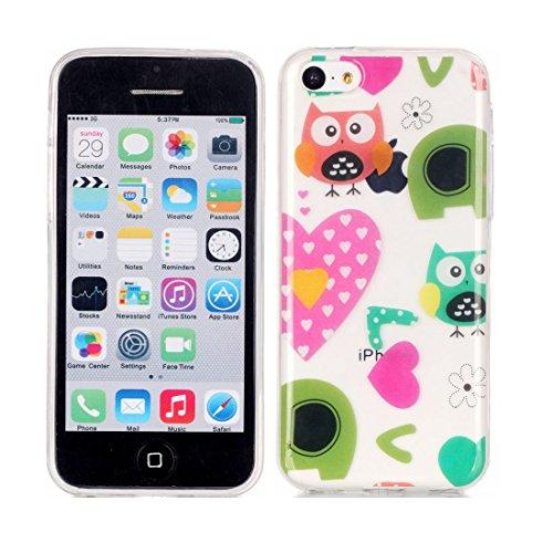 iPhone 5C Custodia Case, Clear Ultra sottile protettiva TPU Silicone Back Rubber Bumper Protector iPhone 5C copertura Cover - Flower farfalla Fiore # 6