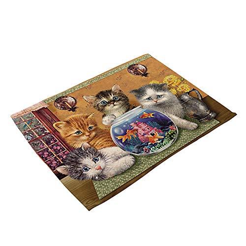 Wimagic, 1 x tovaglietta con stampa di gatto, in cotone e lino, resistente al calore, antiscivolo, lavabile, per tavolo da pranzo da cucina, Style 4, 42cm*32cm