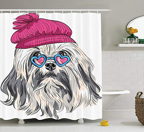 XIAOYI Indie Shower Curtain, Lion Bichon Lowchen Breed Cute Dog with Heart Shaped Glasses and French Hat Print, Fabric Bathroom Decor Set with Hooks, 60W X 72L Inche Extra Wide, Grey Pink Blue