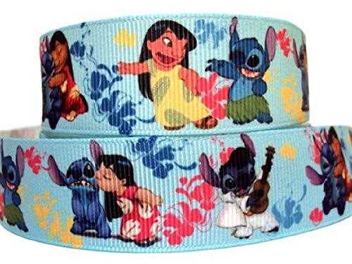 Lilo and Stitch Schleifenband für Fernseh- und Filmfiguren, 2,5 cm breit 3 Yard blau