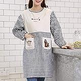ZPSPZ Schürze Arbeitskleidung Küche Kochschürze Reine Baumwolle Kariert Taille Langarm Jacke für Erwachsene Black and White Case