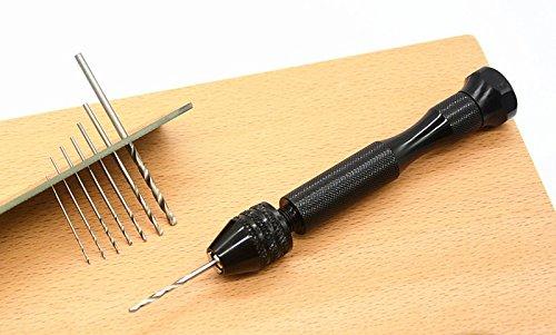 Mini Bohrmaschine Handbohrmaschine Handbohrer Drillbohrer + 10 Spiralbohrer Bohrer 0.6-2.mm für die Schmucksachen Walnut Modell Harz Schmuck Carving für Handwerksbohrungen Holzbearbeitung