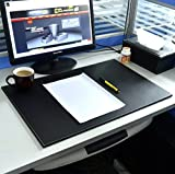 Hensych Smooth PU Leather Writing Mat Desk Pad Office Desktop Blotter A3/ A4 File Paper Holder Drawing Board Large Mouse Pad 24 x 16 x 0.2 inch (Black)