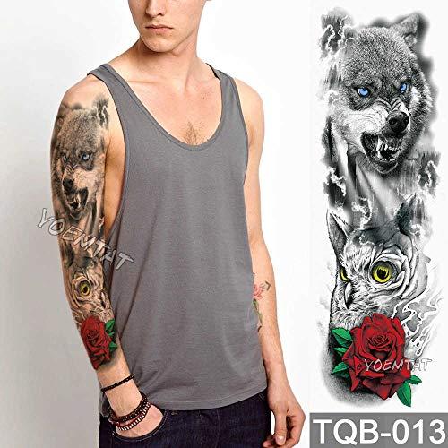 tzxdbh 3 Stücke-Große Arm Ärmel Tattoo Lion Crown King Rose Wasserdicht Temporäre Tätowierung Aufkleber Wilde Wolf Tiger Männer Voller Schädel Totem Tattoo 3 Stücke- (Rose Wild Wir Führen)