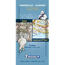 Pack 2 cartes hier/aujourd'hui  Marseille - Cannes Michelin