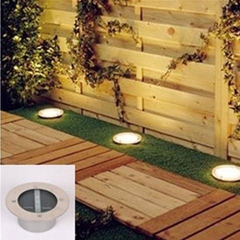 Lychee Metro 3luz LED de ladrillo Deck Jardín al aire libre solar solar de suelo enterrada Luz, acero y vidrio, blanco, 1